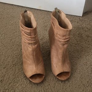 Tan open toe booties